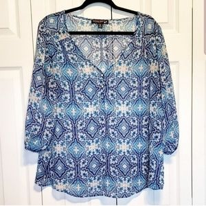 Living Doll Blue Geometric Button Down Blouse